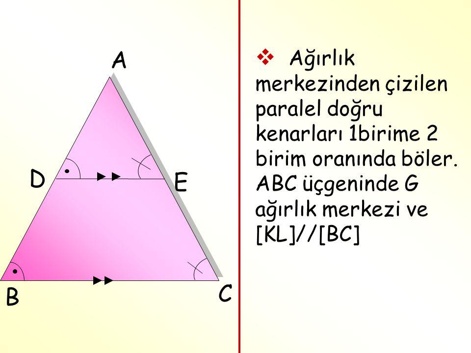 A Ağırlık merkezinden çizilen paralel doğru kenarları 1birime 2 birim oranında böler. ABC üçgeninde G ağırlık merkezi ve [KL]//[BC]